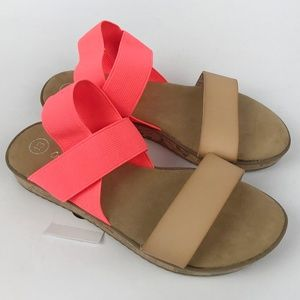 Girls Brown Halyn Two Piece Slide Sandals